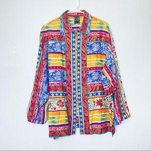 VTG LASF Lilli Ann Floral Striped Button Tunic Top